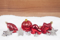 Christmas balls in the snow royalty free stock photography