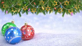Christmas balls in snow and Twigs decoration on bokeh background - 3D render. Seamless loop stock video