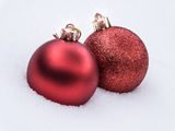 Christmas Balls in Snow Royalty Free Stock Images