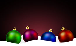 Christmas balls on the snow. Vector art illustration Royalty Free Stock Photos