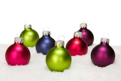 Christmas balls in the snow Royalty Free Stock Photos