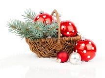 Christmas balls with snow Stock Photography
