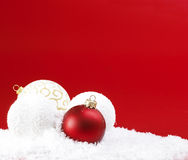 Christmas Balls And Snowballs Royalty Free Stock Photography