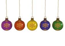 Christmas balls with snowballs Stock Image