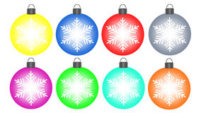Christmas balls with snowflake Stock Images