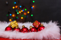 Christmas balls and snowflake. On abstract background Royalty Free Stock Image