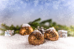 Christmas balls. And snowflake on blurred background Royalty Free Stock Photo