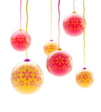 Christmas balls with the snowflake ornament. Light composition of Christmas balls with the snowflake ornament isolated on white stock images