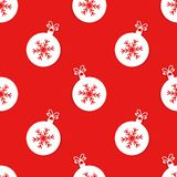 Christmas balls with snowflake pattern stock illustration