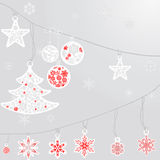 Christmas balls and snowflake on silver background. Silver cristmas balls and fir tree with snowflake on silver background Royalty Free Stock Photo