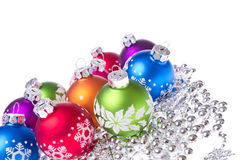 Christmas balls with snowflake symbols Royalty Free Stock Images