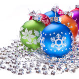 Christmas balls with snowflake symbols Royalty Free Stock Image