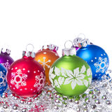 Christmas balls with snowflake symbols Royalty Free Stock Photos