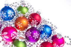 Christmas balls with snowflake symbols Stock Image