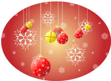 Christmas balls and snowflakes Royalty Free Stock Photos