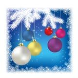 Christmas balls and snowflakes Stock Photos