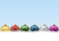 Christmas balls in snowflakes. Set of Christmas balls on snow surface, illustration Stock Images