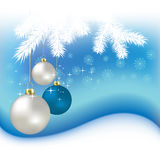 Christmas balls and snowflakes on a blue Royalty Free Stock Photo