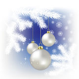 Christmas balls and snowflakes on a blue. Background Stock Photos