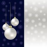 Christmas balls and snowflakes on a grey stock illustration