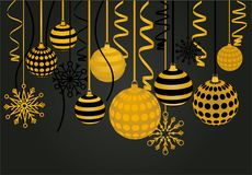 Christmas balls and snowflakes hanging on Royalty Free Stock Photos