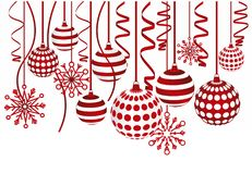 Christmas balls and snowflakes Stock Photography
