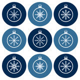 Christmas balls and snowflakes icon set Royalty Free Stock Image