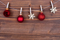 Christmas Balls and Snowflakes on a Line Royalty Free Stock Image