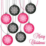 Christmas balls with snowflakes Royalty Free Stock Images