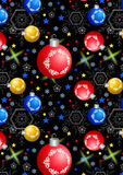 Christmas balls, snowflakes and stars on a black background Stock Image
