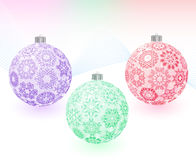 Christmas-balls with snowflakes texture Stock Photos
