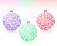 Christmas-balls with snowflakes texture Stock Photos