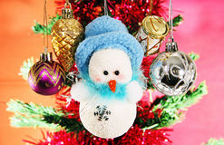 Christmas balls and snowman. Stock Image