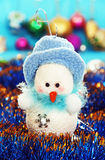 Christmas balls and snowman. Royalty Free Stock Photo