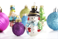 Christmas balls with snowman Royalty Free Stock Images