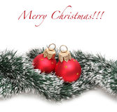 Christmas balls and spruce branch Royalty Free Stock Image