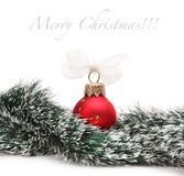 Christmas balls and spruce branch Royalty Free Stock Images