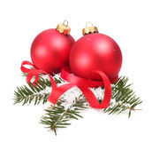 Christmas balls and spruce branch Stock Photos