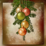Christmas balls and spruce branches on a vintage background Royalty Free Stock Photography
