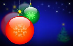 Christmas balls on the starry sky Royalty Free Stock Photos