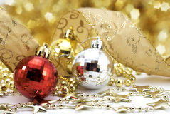 Christmas balls with stars. Christmas balls of different colour with stars Royalty Free Stock Photo
