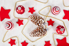 Christmas balls and stars Stock Images