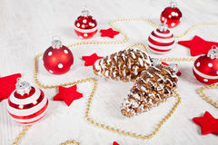 Christmas balls and stars Stock Images