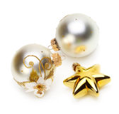 Christmas balls and stars. On white Stock Images