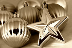 Christmas balls and stars. Silver Christmas balls and stars decorations - background Stock Photo