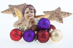 Christmas balls, stars and angel. Royalty Free Stock Images