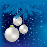 Christmas balls and stars on a blue Stock Photo