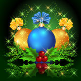 Christmas balls and stars. Christmas card with balls and stars Royalty Free Stock Photography