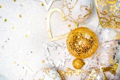 Christmas ornaments, with Christmas balls, stars, gold and silver colors. Christmas balls, stars, gold and silver colors Stock Photo