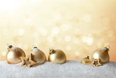 Christmas balls stars golden snow Royalty Free Stock Photography